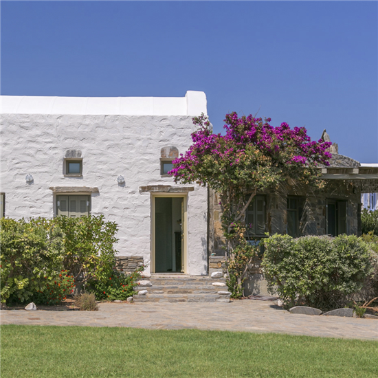 The Beach Path Seaside Villas are built from materials found naturally on Paros,Greece, such as stone and marble. Visitors will be captivated by the unique architecture at first sight, as it is completely integrated into its surroundings.